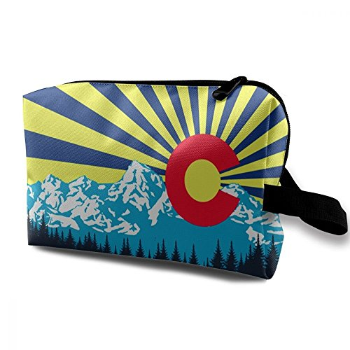 ZHIYANG Colorful Colorado Flag Elegant Handy Cosmetic Bags With Zipper For Travel Home Jewelry Pouch Storage Bags Makeup Bags -