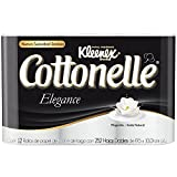 Kleenex Cottonelle Elegance Papel Higiénico, color Blanco, 12 Rollos de 252 Hojas