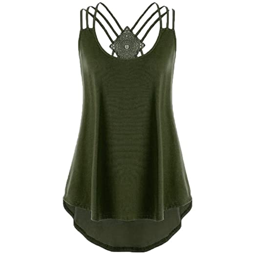 3451a4eaa0a84 CUCUHAM Ladies  Bandages Sleeveless Vest Top High Low Notes Strappy Tank  Tops (S