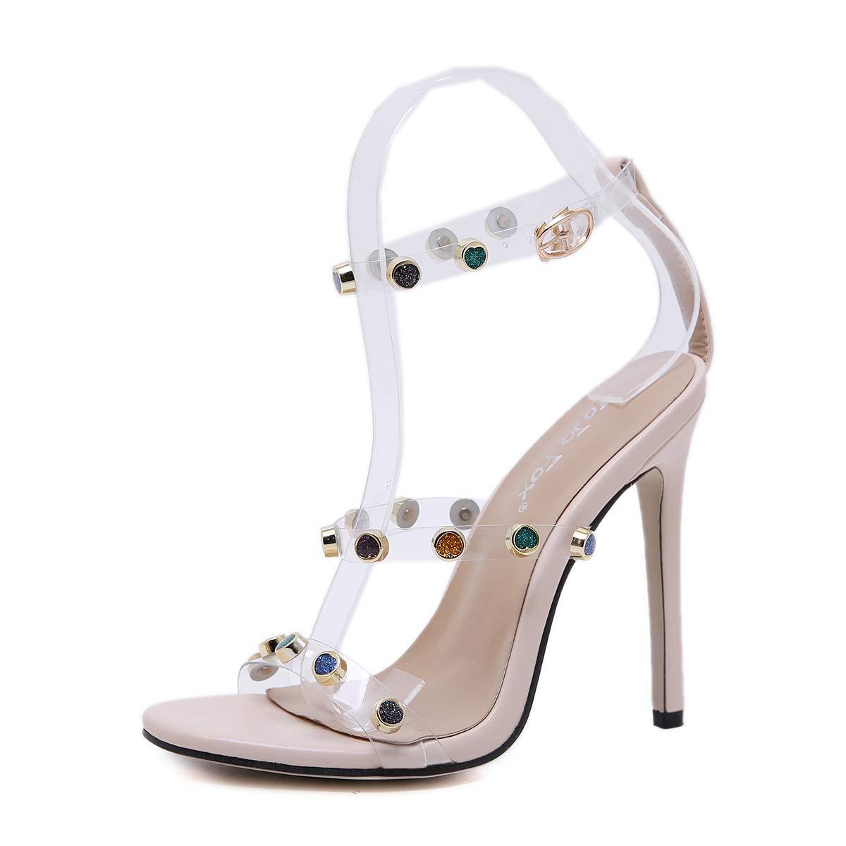 FengJingYuan Frauen Sandalen - Cross-Belt Farbe Nieten Strass High Heel Transparente Folie Damenschuhe  | Kaufen