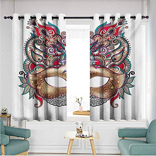 ETHEEKA Blackout Curtains Panels,Mardi Gras,Room Darkening, Noise Reducing,W63x72L,Multicolor