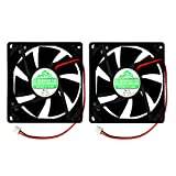 Security-01 2 Packs 80mm by 80mm by 25mm 8025 12V DC 0.20A Ball Bearing Brushless Cooling Fan 2pin AV-F8025MB UL CE