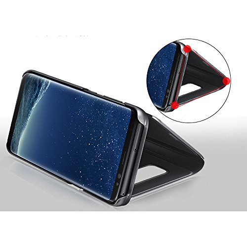 Leather Case with Stand for Huawei Honor V10,Bookstyle Flip Case Cover for Huawei Honor V10,Leecase Mirror Effect Transparent View Standing Function for Huawei Honor V10-Gold by Leecase (Image #4)