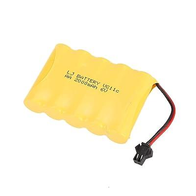 Formulaone 6V 2000mAh Batería Recargable para RC 1/16 Carro Sobre orugas de Escalada WPL B-1 / B-24 / C-14 / C-24 / B-16 Accesorios de Repuesto para Piezas de Camiones - Amarillo: Juguetes y juegos