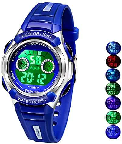 Multi Coloured Lights Time Teacher Watch for Boys Digital Sports Swim,Frozen,Waterproof Kids Boys Watches Blue,for Age 3-8