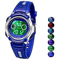 Multi Coloured Lights Tiempo de Profesor Watch para las niñas Boys Digital Deportes impermeable niños relojes, para edad 3–8, S, Azul