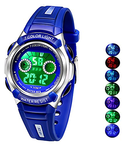 Multi Coloured Lights Time Teacher Watch for Boys Digital Sports Swim,Frozen,Waterproof Kids Boys Watches Blue,for Age 3-8 from AZLAND