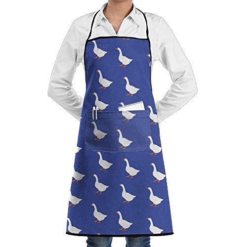 White Goose Funny Pattern Kitchen Cooking Apron BBQ Bib Aprons With Pocket For Men Women Green Side Pocket Bib Apron