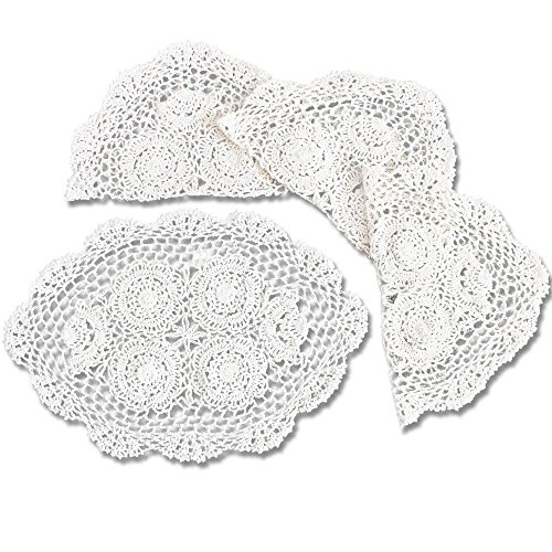 (KEPSWET Crochet Oval Placemats Set of 4 White Cotton Lace Table Placemats for Dining Coffee Decor 12 x 18 inch)