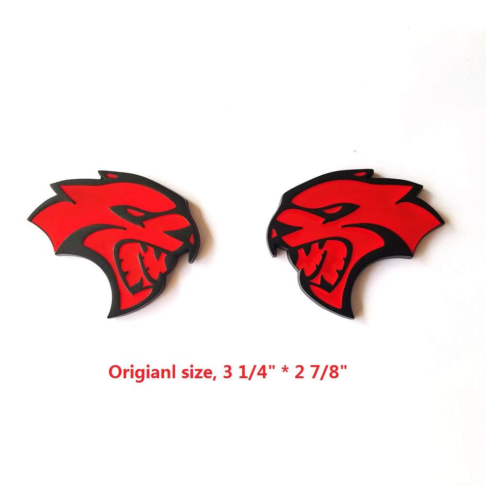 2x OEM Hellcat Side Emblem Badge 3D logo Sticker SRT Challenger Charger Red Frame Original size