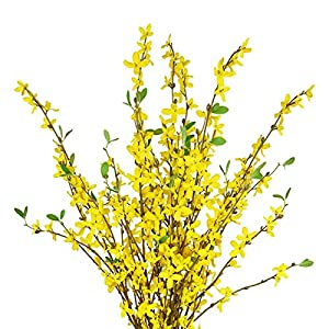 Sunm boutique Artificial Orchids Flowers, 3 Pcs Silk Fake Orchids Flowers in Bulk Orquideas Flowers Artificial for Indoor Outdoor Wedding Home Office Decoration Festive Furnishing Yellow 3