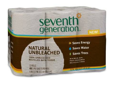 Seventh Generation Unbleached Bathroom Tissue Roll, 12 Count