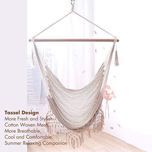 Chihee Hammock Chair Large Hammock Chair Relax Hanging Swing Chair Cotton Weave for Superior Comfort Durability Perfect for Indoor Outdoor Home Bedroom Patio Deck Yard Garden Weaving Hanging Chair