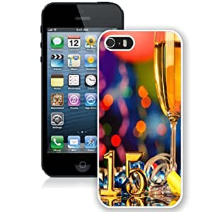 NEW Unique Custom Designed iPhone 5S Phone Case With New Year 2015 Champagne Glass_White Phone Case wangjiang maoyi