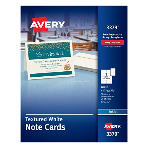 Avery Textured Heavyweight Note Card and Envelopes, 4-1/4 x 5-1/2, 50 per Box (3379) Business Card Window Envelopes