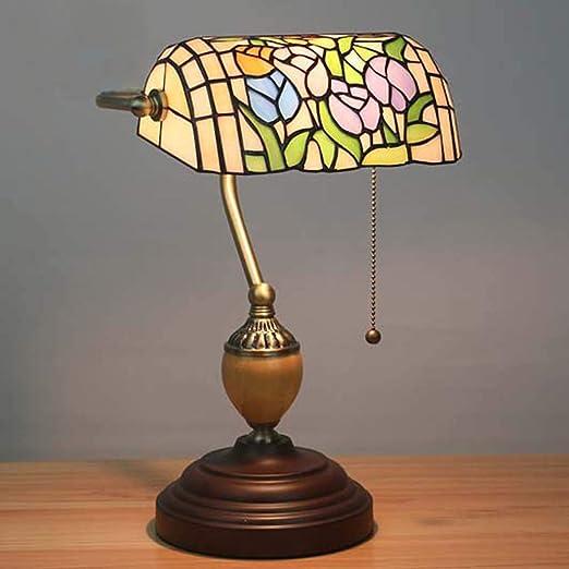 CRYGD Lámpara de Mesa Estilo Tiffany Vintage Color Pastoral Banco ...