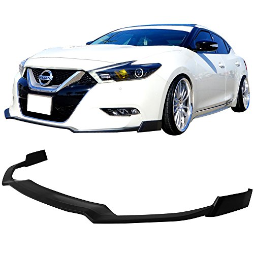 Lip Front Acs (Front Bumper Lip Fits 2016-2017 Nissan Maxima | Black PU Front Lip Finisher Under Chin Spoiler Add On by IKON MOTORSPORTS)