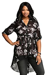 Floral Hi-Lo Tunic Top