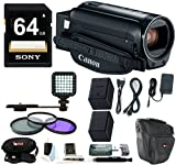Canon VIXIA HF R82 Camcorder w/ 64GB Memory Card, 43mm filter kit, Additional BP-727 Battery, LED Video Light & Supreme Accessory Bundle