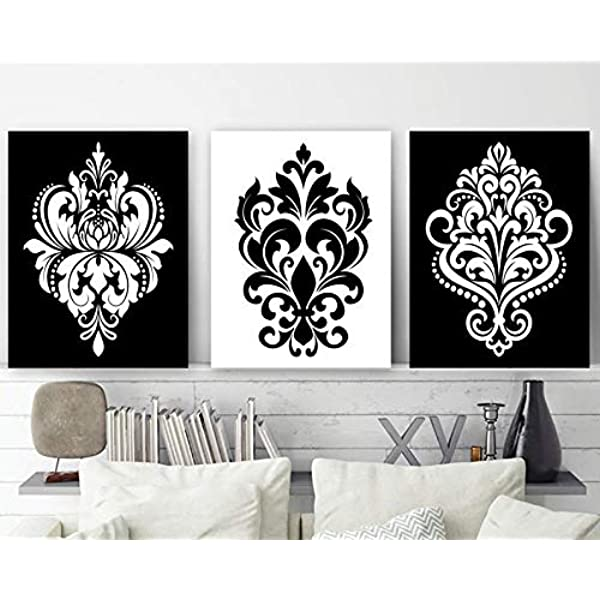 Amazon Com Black White Wall Decor Damask Decor Black White Bedroom Wall Art Canvas Or Print Black White Bathroom Decor Home Decor Set Of 3 Artwork Posters Prints,Three Bedroom Modern 3 Bedroom House Designs Pictures