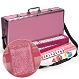 Yellow Mountain Imports American Mahjong (Mah Jong, Mahjongg, Mah-Jongg, Mah Jongg) Set with 166 Tiles, All-in-One Racks with Pushers, Pink Aluminum Case, and Accessories, ''Pink Sparkles''