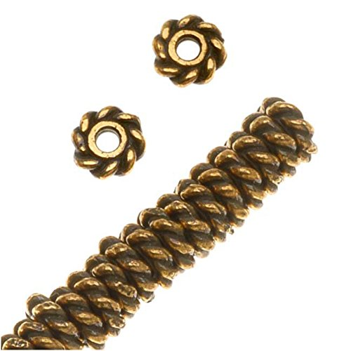 (TierraCast 22K Gold Plated Pewter Twist Edge Spacer Beads 4mm (50) )