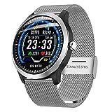 Coerni IP67 Waterproof Smart Watch Fitness Tracker lood Pressure Heart Rate 3D UI Smart Watch with 1.22Inch ECG Display (Silver)