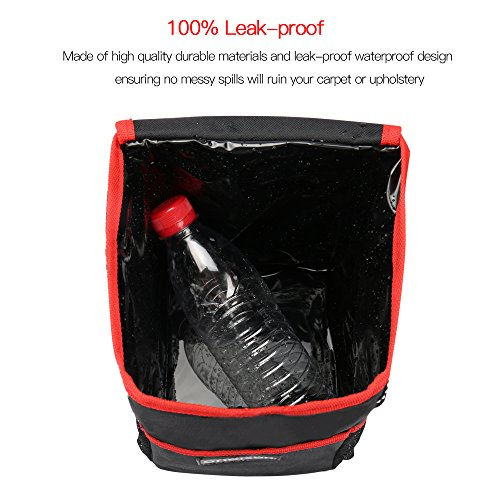 oneisall Car Trash Can with Lid,Waterproof & Leak-proof Car Garbage Can Holder,Portable In Car Trash Bag Hanging with Storage Pockets(Black&Red) by oneisall (Image #3)