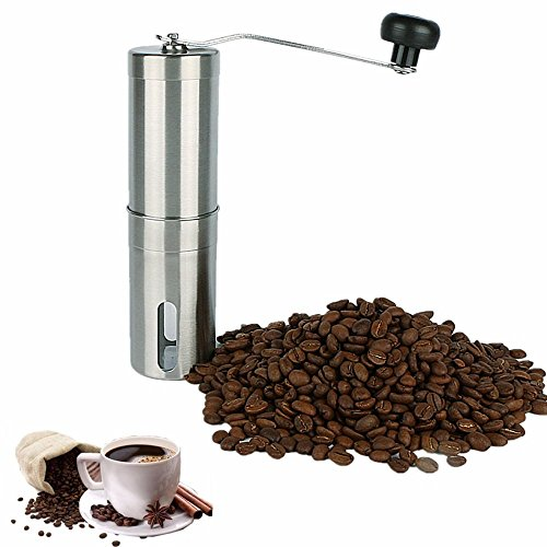 Manual Coffee Grinder, Adjustable Conical Ceramic Burr, Brushed Stainless Steel