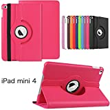 iPad Mini 4 Case, KAMII 360 Degrees Rotating Leather Stand Scratch-Resistant Ultra Slim Lightweight Stand Cover Apple iPad Mini 4 (2015 Release) (Rose)