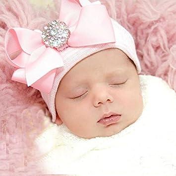 iEFiEL Adorable Bébé Filles Bonnet extensible Bandeau Noeud Strass Rose  Accessoire Photographie 71340775c69