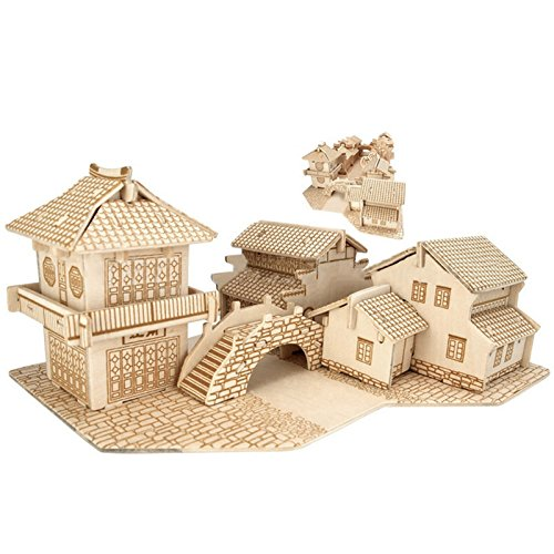 DIY Three-Dimensional Puzzle, Popular Wooden 3D Stereo Puzzle Best DIY Creative Educational Puzzle Best Chrismas Gifts for Boys and Girls-- Canal Towns in South of the Yangtze - Shades In Canal