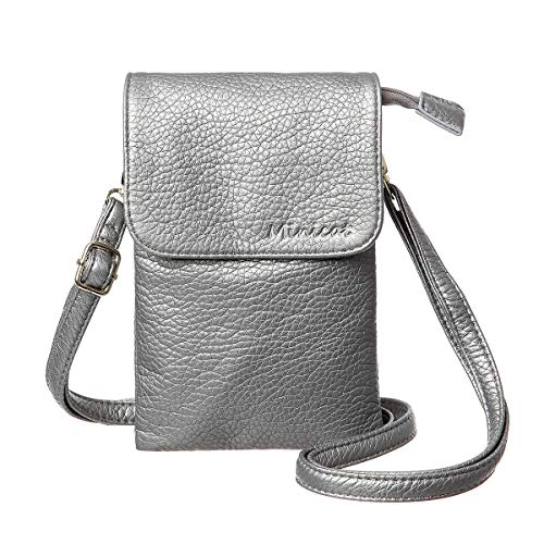 Silver Handbag Girls (MINICAT Roomy Pockets Series Small Crossbody Bag Cell Phone Purse Wallet For Women(Dark Silver))