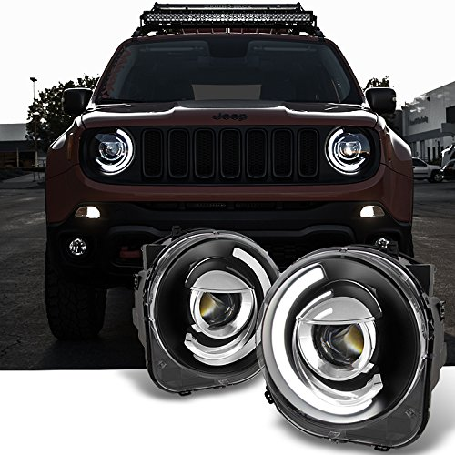 For NEW LED Tube Design Black 2015 2016 2017 2018 Jeep Renegade C-Shape LED Tube Projector Headlights Pair (New Renegade Jeep)