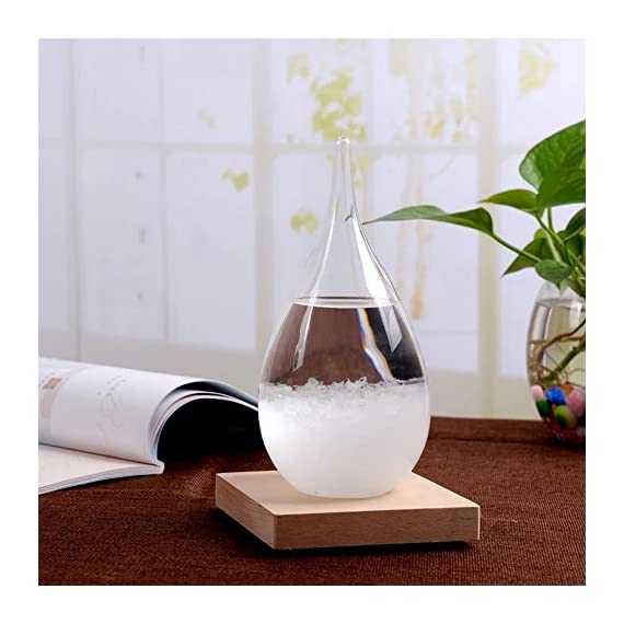 """MoharWall Weather Predicting Storm Glass Home Office Decor Christmas Fashion Friendship Gift Creative Desktop Fitzroy Weather Crystal Bottle Forecaster Barometer - Bottle Size:4.7""""×2.4"""" In Base:2.6""""×2.6""""×0.8""""InWeight:0.44 pound(Bottle and Wooden base) Storm glass was invented in the 18th century as a household barometer, supported by admiral Fitzroy's sound scientific principles. It provides a way for navigators to predict the weather before sailing. Weather is forecast to be sunny, cloudy, snow or thunderstorms. High quality materials: storm bottle changes will be more noticeable than other sellers - living-room-decor, living-room, home-decor - 51Xb5Za2%2BIL. SS570  -"""