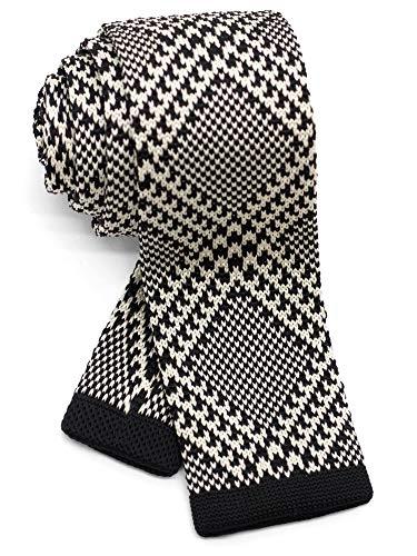(WANDM Men's knit tie slim skinny square necktie width 2.2
