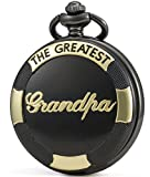SEWOR Father's Day Quartz Pocket Watch Shell Dial Gold & Sliver Case Family Xmas Gift (Black Grandpa)