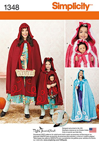 Simplicity Creative Patterns 1348 Misses', Child's and 18-Inch Doll Capes Sewing Patterns, Size A (3-8/XS-XL) -