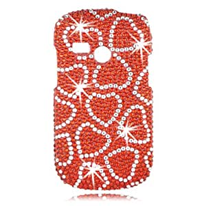 Talon Full Diamond Bling Phone Shell for LG UN200 Saber - Red Hearts - US Cellular