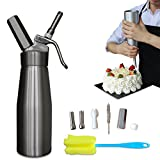 Professional Whipped Cream Dispenser Aluminium Cream Whipper - Whipping Siphon with Stainless Steel Tips Silver Bonus Recipe Ebook Cleaning Brushes Lifetime Warranty Animato