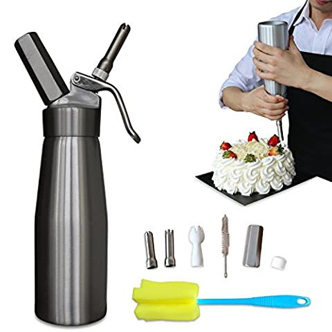 Professional Whipped Cream Dispenser Aluminium Cream Whipper - Whipping Siphon with Stainless Steel Tips Silver Bonus Recipe Ebook Cleaning Brushes Lifetime Warranty - Isi Siphon