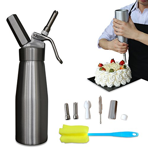 Professional Whipped Cream Dispenser Aluminium Cream Whipper - Whipping Siphon with Stainless Steel Tips Silver Bonus Recipe Ebook Cleaning Brushes Lifetime Warranty (Italian Soda Recipes)