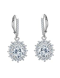 EVER FAITH Women's 925 Sterling Silver CZ Elegant Flower Prong Setting Leverback Dangle Earrings