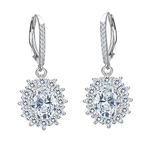 (EVER FAITH 925 Sterling Silver CZ Elegant Flower Prong Setting Leverback Dangle Earrings)