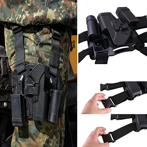 JahyShow Tactical Right Hand Paddle & Leg Belt Drop Leg Holster for Glock 17/19/22/23/31/32