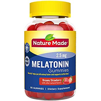 Nature Made Melatonin 2.5 mg Gummies, 80 Count for Supporting Restful Sleep† (Packaging May Vary)