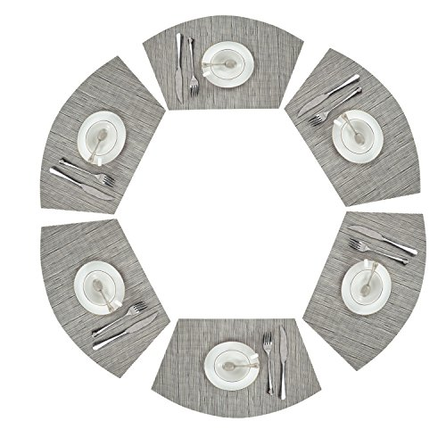 PAUWER Round Table Placemats Vinyl Wedge Placemat Set of 6 for Kitchen Table Heat Insulation Stain-resistant Washable Placemats for Round Table (Set of 6, Silver Grey)