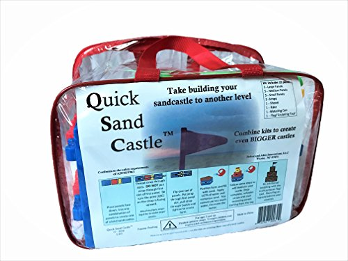 Quick Sand Castle 22 piece sandcastle building kit with reusable zipper bag - Build strong, tall, and detailed castles easily