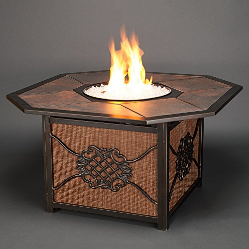 Agio Willowbrook Gas Fire Pit with Copper Reflective Fire...