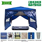 VINGLI Heavy Duty 10'x10' Ez Pop Up Canopy Tent with 4 Removable Sidewalls, Folding Instant Wedding Party Commercial Pavilion Gazebo W/Portable Rolling Carrying Bag Blue